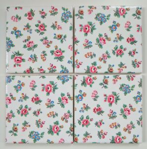 4 Ceramic Coasters in Cath Kidston Highgate Ditsy Rose